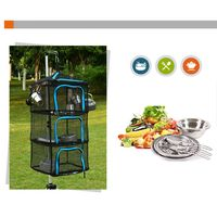 Drying Rack Net 4 Layer Collapsible Mesh Hanging Vegetable Fish Dryer With Zipper For Outdoor Camping Fishing