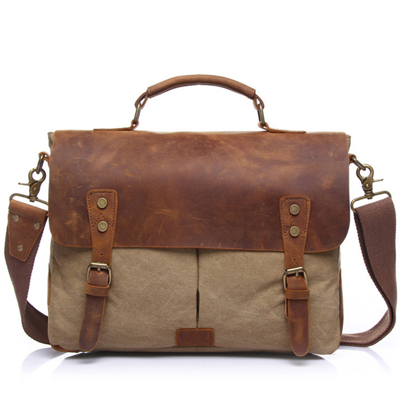 Vintage Brand Canvas Men's Satchel Briefcase Handbags Crossbody Shoulder Bags Classic Messenger Business Bag