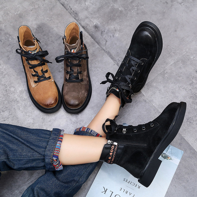 Winter Leather Martin Boots Women Low Heels Lace Up Shoes For Women 2018  Ankle Boots Leather Warm Shoes Black Casual Cheap Shoes 97581780bd
