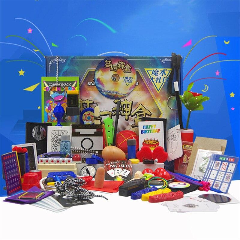Tours de magie cadeaux boîte ensembles 30 types d'accessoires de magie débutant éducation tours de magie carte pour magiciens professionnels