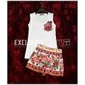 Alta Qualidade Runway Suit Set Conjuntos de Verão das Mulheres Novas 2 peça Rosa Lantejoulas T-shirt de Algodão Branco Tops + Shorts conjunto