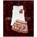 High Quality Runway Suit Set Summer New Women's Sets 2 Piece Rose Sequined Cotton T-shirt White Tops + Casual Shorts Set