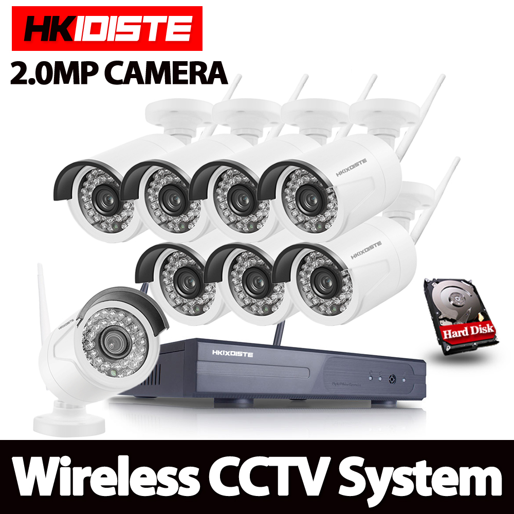 Full HD 8CH 1080 P Wireless NVR Sistema CCTV 2MP 1080 P Wifi IP Camera Impermeabile Day/Night Sicurezza Camera Kit Videosorveglianza