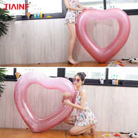90/120cm Gaint Pink Heart Inflatable Float Circle Swimming Ring for Swim Pool Swimming Party Adult Kids Water Toys Dropshipping