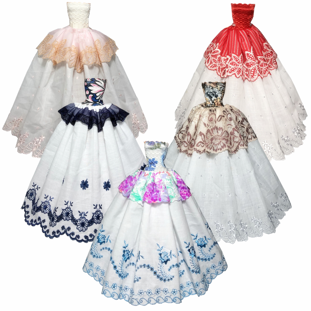 NK One Pcs Handmade Fashion Princess Wedding Dress For Barbie Doll Dress Baby Girl Birthday Best Present for kids JJ image