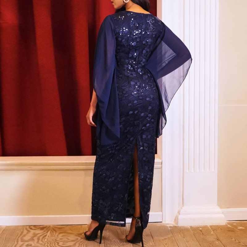 Вечерние элегантные длинные платья-карандаш винтажное голубое офисное дамское летнее платье большого размера женское обтягивающее Ретро Сетчатое винтажное платье макси с блестками
