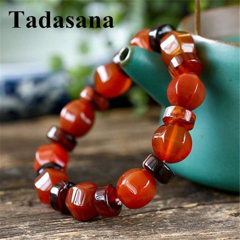 Pulseiras de Jóias por Atacado de Pedra Botão Vermelho Ágatas Pulseiras Mulheres Homens Amizade Natural Beads Budismo Meditação