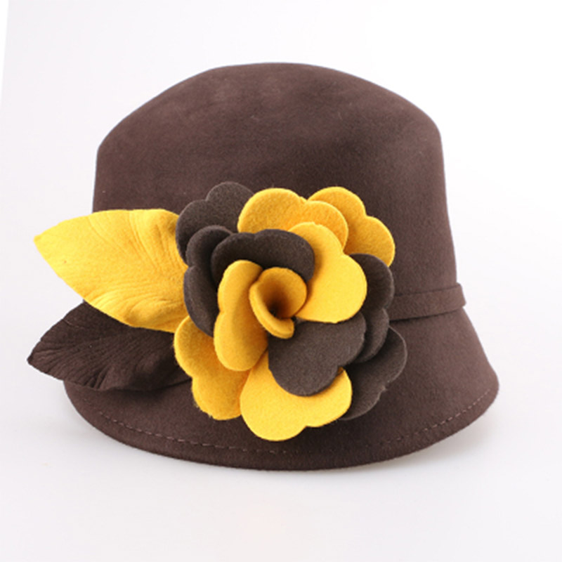 b30a1f4e6ed FS England Ladies Wool Navy Blue Hats For Women Vintage Wide Brim Floppy  Felt Hat Floral Bowler Fedora Autumn Brown Cloche Hat-in Fedoras from  Apparel ...