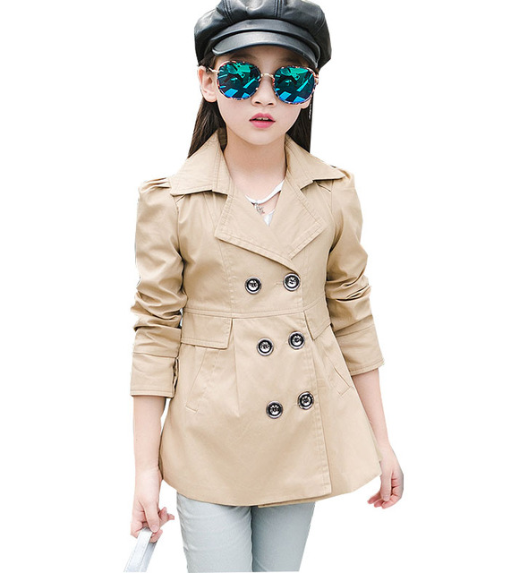 Niños de Primavera y Otoño nuevas niñas chaqueta cazadora Delgado ropa de algodón doble de pecho abrigo de manga Larga