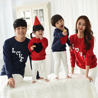 2018 New Autumn family pack LOVE heart design cotton Hoodies Winter clothes for mother,kid,father,Cause long-sleeve T-shirt,LW11