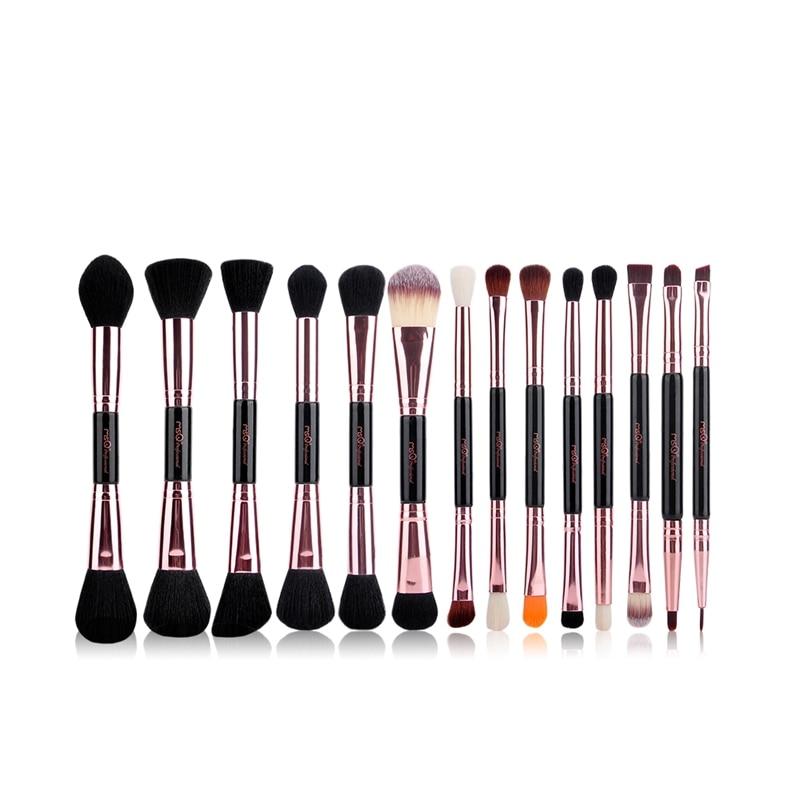 MSQ Профессиональные кисти для макияжа комплект из розового золота двухсторонняя Косметическая Кисть для макияжа основа глаз инструмент красоты PU кожа Cylind