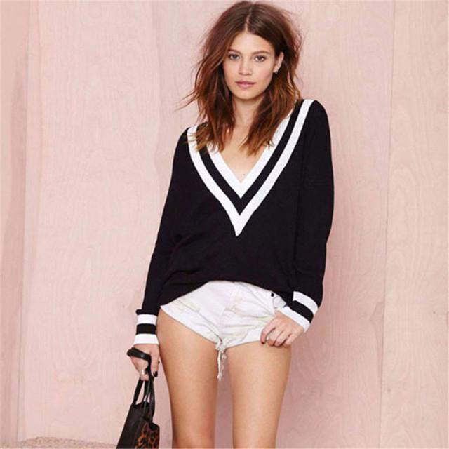 Atractivo de las mujeres Suelta Suéter Jersey de Manga Larga Suéter de Punto a Rayas Borde Profundo Escote en V Negro de Punto Blanco