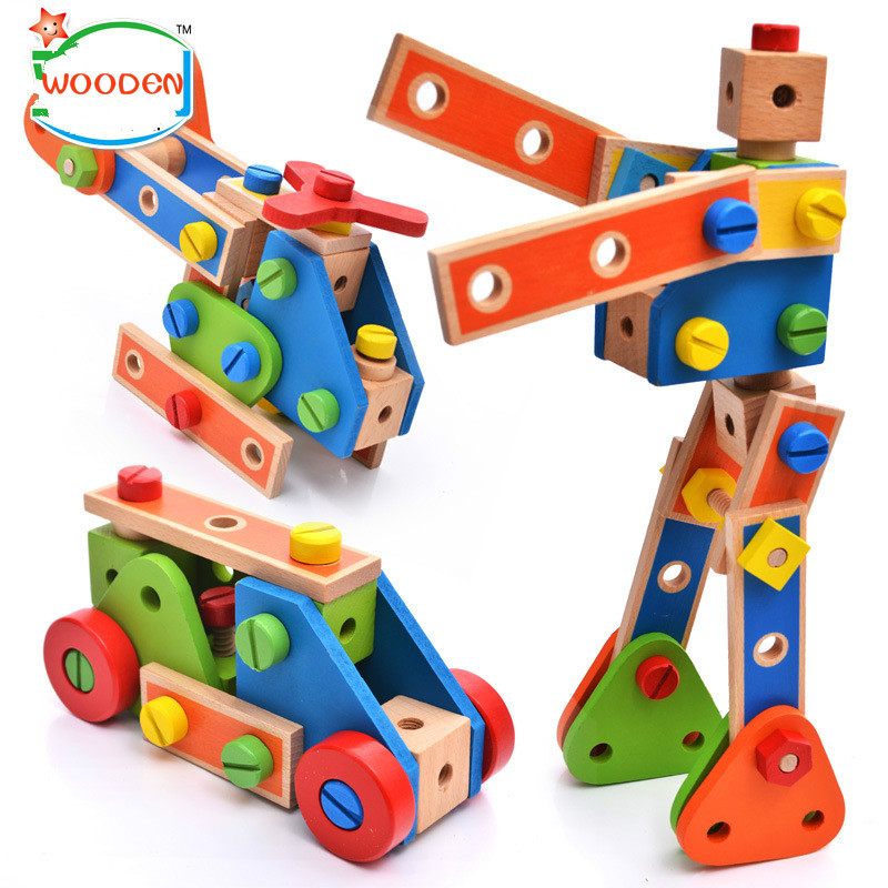 70pcs Assembly And Disassembly Geometric Puzzle ToyWooden Cartoon Nut Combination Children Hands-on Best Gift For Children