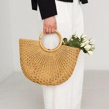 New Fashion Straw Bag Women Handmade Wicker Woven Handbag Moon Shape Big Capacit