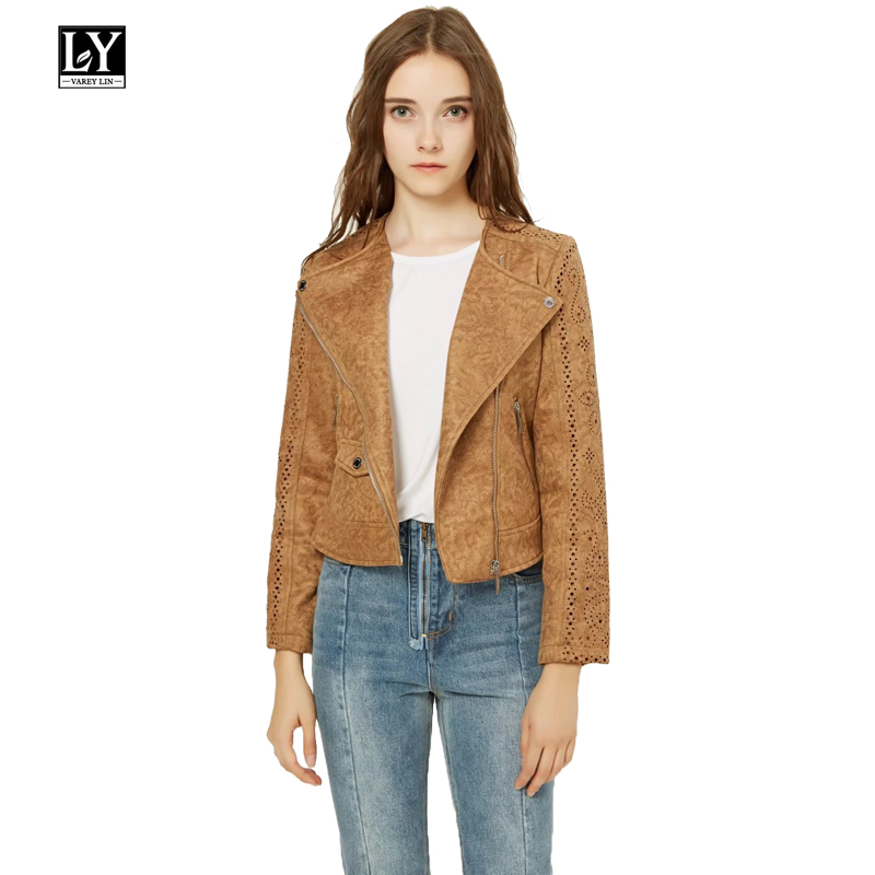 Ly Varey Lin Spring Faux Soft   Leather   Women Jacket Coat Vintage Hollow Out Slim   Suede   Jacket Lady Short Retro Casual Outerwear