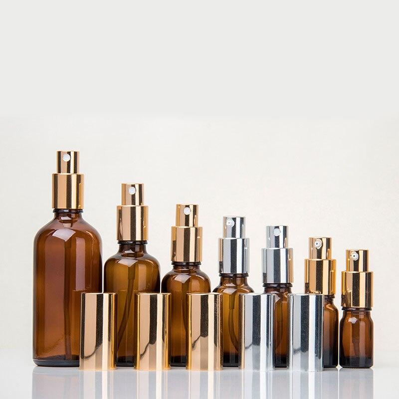 10 100 ml 1 ctn oro argento nero a spruzzo emulsione testa tan flaconi contagocce di Vetro Bottiglie di Olio Essenziale di Cosmetici Contenitore di viaggio - 2