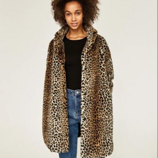 f70a803850a 2018 XS-6XL Winter Women Coat Faux Fur Coat Faux Fur Overcoat Leopard Coats  Warm Outwear Casaco De Pele Oversize Overcoats
