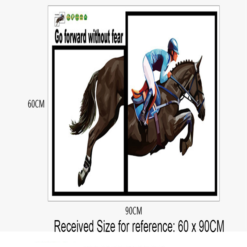 3D Picture Frame View Horse Racing Wall Stickers Living Room Dining Background Decor Art Go Forward Without Fear Decal In From Home