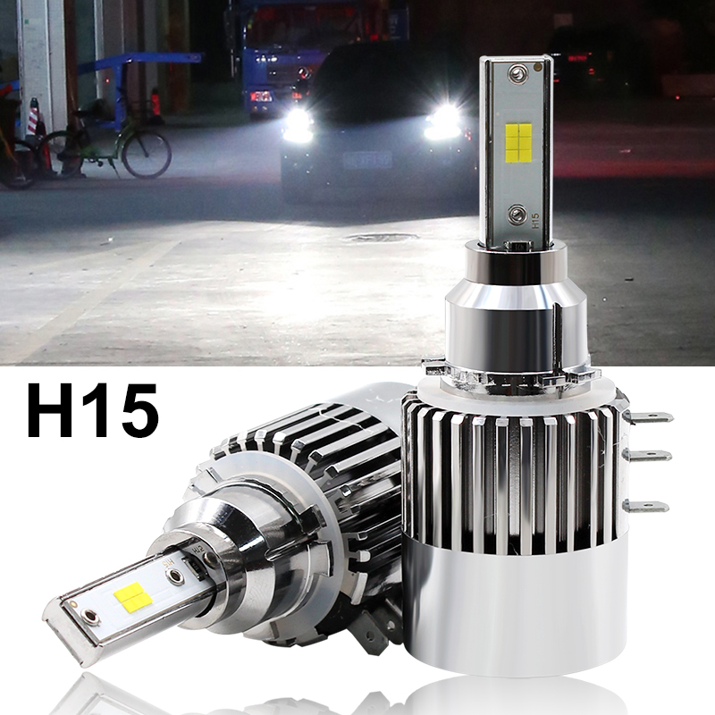 Super Bright Car Headlights LED H15 Canbus Auto Front Bulb Automobile Waterproof  Headlamp 6000K Car Lighting high bright car headlights led bulb d33 h1 free canbus auto led white headlamp with yellow lights for vw jetta volkswagen golf 6