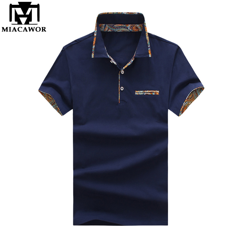 MIACAWOR 2018 New European Design Polo Shirt Men Print Collar Short-sleeve Polo Homme Slim Fit Casual Camisas Polo MT612