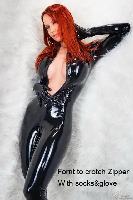 Honour Women's Catsuit Front Crotch 2way Zipper with socks and gloves 100% natural latex handmade