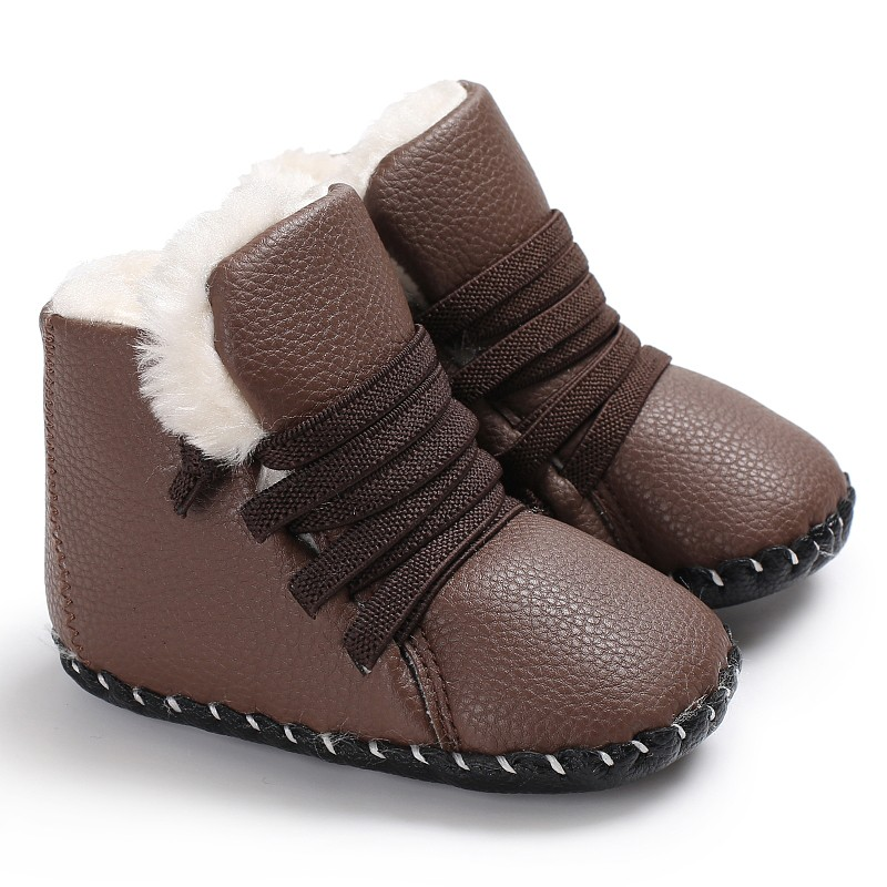 2017 New Autumn And Winter Baby Warm Shoes PU Plus Cashmere High Quality Male Baby Soft School Shoes