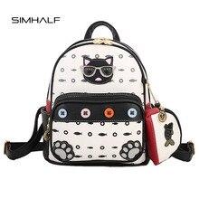 Simhalf 2 шт./компл. Детские рюкзаки высокое качество женские кожаные рюкзак для подростка девушка милый кот школа маленькая сумка Mochilas