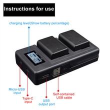 Камер Батарея Зарядное устройство двойной Порты ЖК-дисплей Дисплей NP-FW50 Батарея Smart Зарядное устройство Подставка для Sony Alpha a6000 a6300 A6500 A7r A7