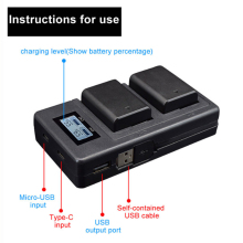 Camer Battery Charger Dual Ports LCD Display NP-FW50
