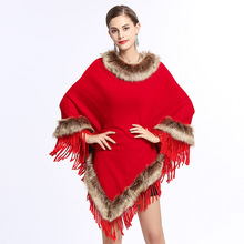 SC133 Women Capes Printed Poncho 2018 Winter Faux Fox Fur Shawl Knitted Triangle Tassel Sweater Plus Size Pullover Coat Fur Neck