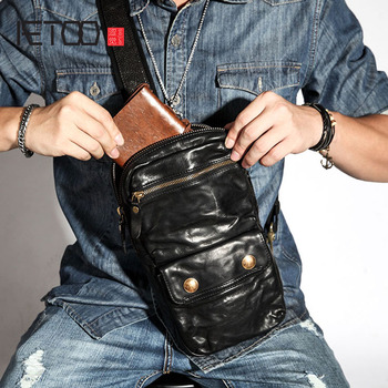 AETOO Retro chest bag men's leather shoulder diagonal bag casual  street personality first layer leather men's bag