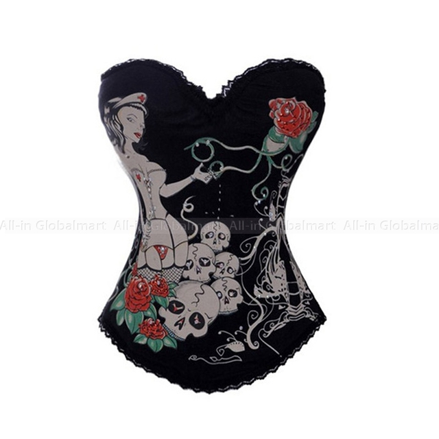 Gothic Corset Overbust Steampunk Corsets And Bustiers Cotton Waist Trainer Hook Eyes Sexy Boned Burlesque Costumes Shaper TYQ