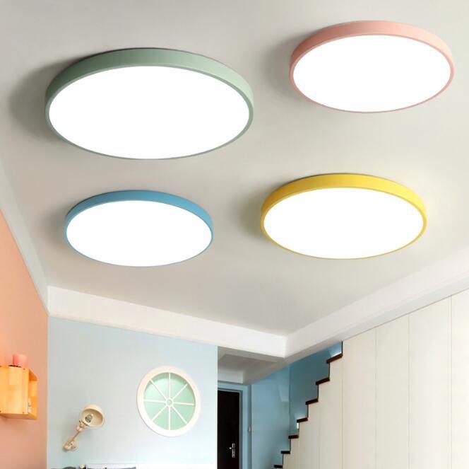 Lámpara de techo LED Circular Macaroon ultrafina creativa Color caramelo para habitación de niños luz Kitechen dormitorio estudio luces de techo