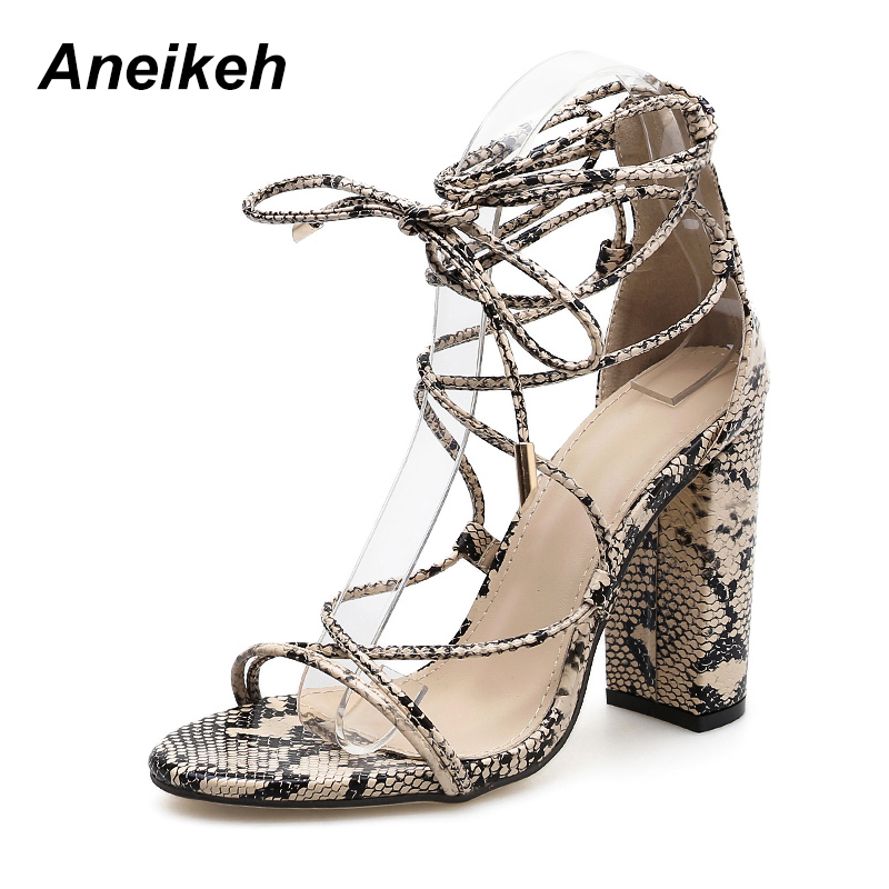 Aneikeh 2018 Summer Women Sandals Ankle Strap High Heels PU Leopard Print Sexy  Lace Up Square Heel Sandals Shoes Size 35 40-in High Heels from Shoes on ... f39e3480e7c1