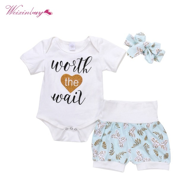 38addbf3cc35 WEIXINBUY Baby Girl Clothes Set 3pcs Summer Clothing Sets Letter Print  Cotton Rompers Shorts Headband Newborn Clothes