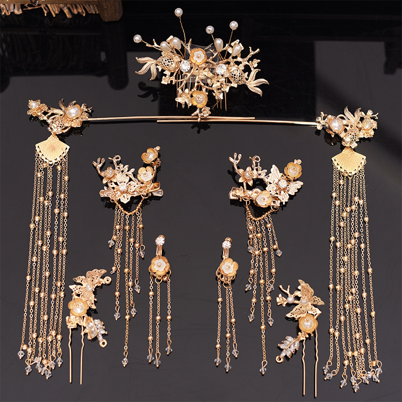 Headdress Hair-Accessories Phoenix-Crown Bride Traditional Wedding Chinese Classical