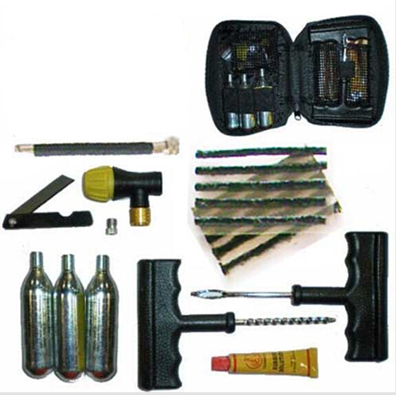 car Tire Puncture Repair Inflation Inflator Tool Kit+CO2 for Motorcycle ATV Quad Dirt Emergency Tubeless Tire Tyre pump tool atv tyre