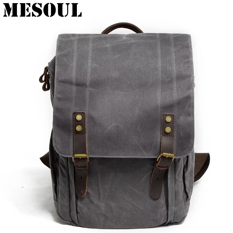 MESOUL Men Laptop Backpack Waterproof Travel Schoolbag Male Multifunction Canvas Large Capacity Rucksack School Bags For Boys grizzly new fashion laptop men backpack for teenager boys multifunction mochila waterproof school bags large capacity travel bag
