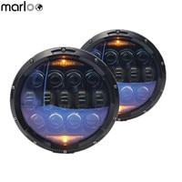 Marloo 7 Inch Round LED Headlight Blue Kit Wrangler JK LJ JKU TJ CJ Sahara Rubicon