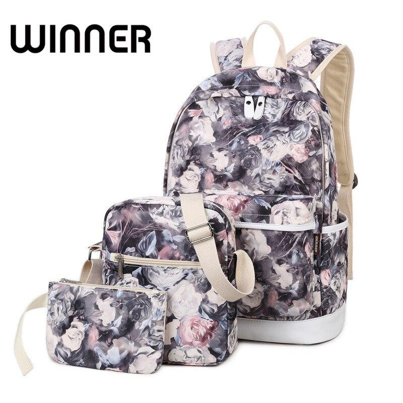 Brand Set Backpack Women Flower Printing Backpack Waterproof Canvas Backbag School Bags for Teenagers Girls Laptop Rucksack