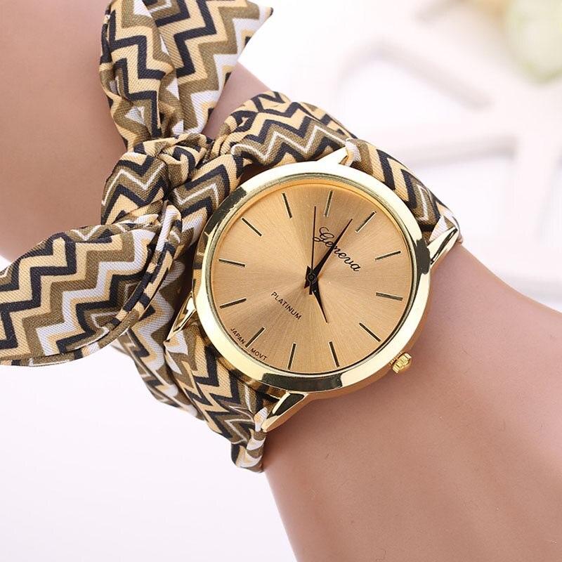 New Design Ladies Cloth Wristwatch Fashion Women Dress Watches High Quality Fabric Watch Sweet Girls Bracelet Watch Hot Clock