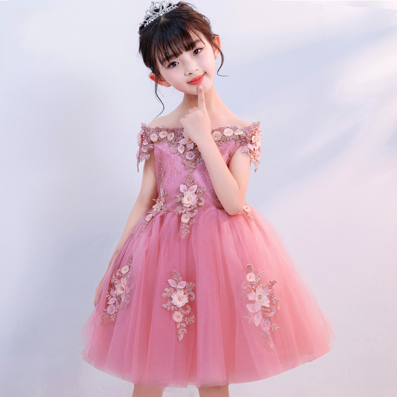 Princess Lovely Pink   Flower     Girl     Dresses   with 3D   flowers   Short Sleeves   girls   Ball gown 2019 New   Girls   Pageant   Dresses