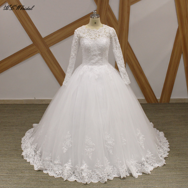 China Long Sleeves Wedding Dress Custom Made Lace Princess: Long Sleeve Wedding Dress Graceful Backless Beaded Lace