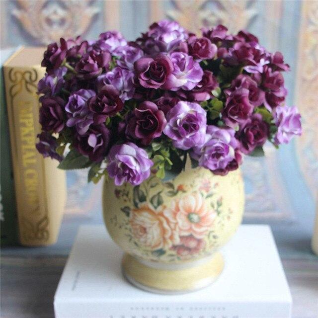 Hot sale 1pc purple beautiful austin 15 heads silk flowers hot sale 1pc purple beautiful austin 15 heads silk flowers artificial rose wedding bridal party decor mightylinksfo