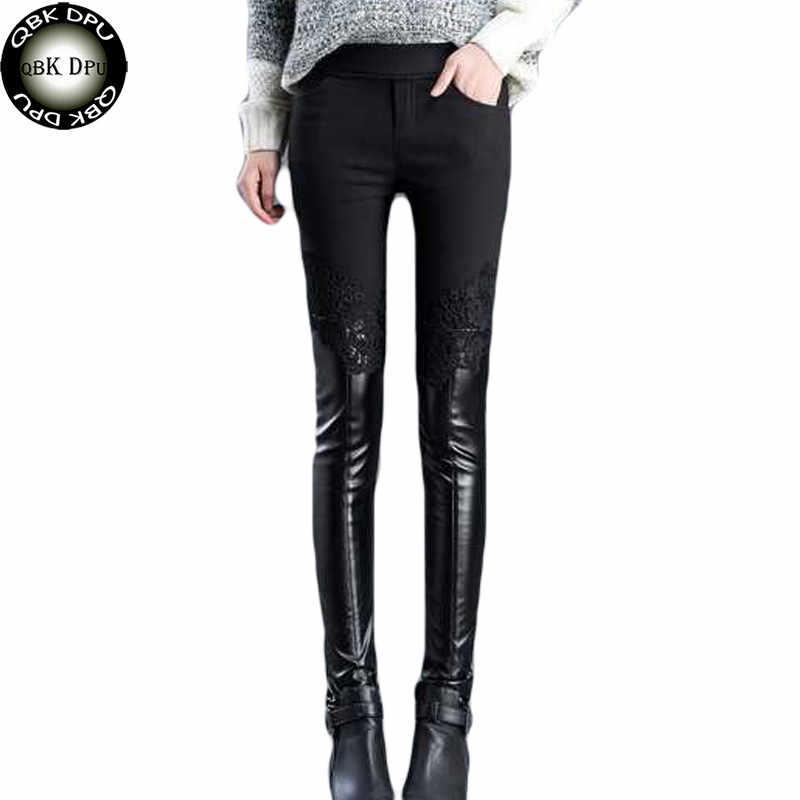 Mulheres sexy Emenda Preto PU leggings plus size calças Grossas de Inverno Quente leggings De Cintura Alta Magras Calças Femininas Rendas padrão