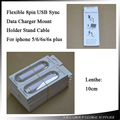 100pcs/lot 10cm Flexible 8pin USB Sync Data Charger Mount Holder Stand Cable For iphone 6 6s 6sp 7 7p Surpport Ios 10.0 System