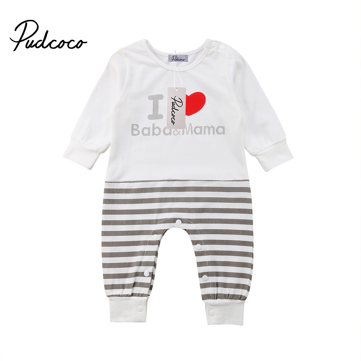 2019 Neugeborenen Baby Kinder Jungen Mädchen Gestreiften Liebe Mama Einteiliges Strampler Overall Outfits Kleidung Ein Unverzichtbares SouveräNes Heilmittel FüR Zuhause