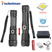 30000 LM xhp50.2 powerful LED Flashlight usb Zoomable Torch xhp50 use 18650 Rechargeable battery hunting z90(China)