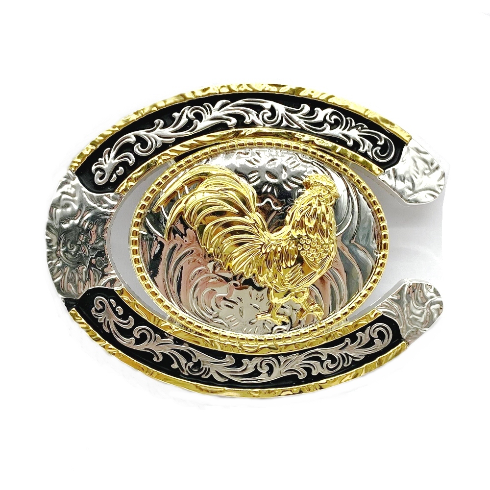 Western Cowboy Animal Belt Buckle Silver And Gold High-grade Belt Buckle Semicircle Shape