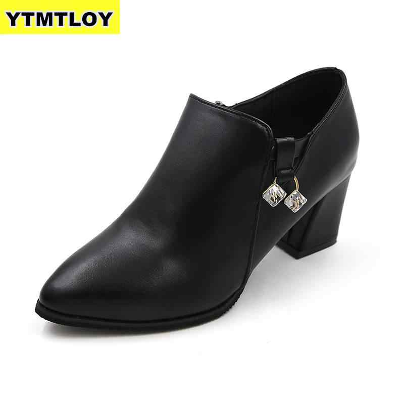 HOT Nieuwe Herfst Winter Vrouwen schoenen Vrouwelijke zijrits puntschoen Laarzen enkellaarsjes Vintage Mode Martin Zapatos De Mujer